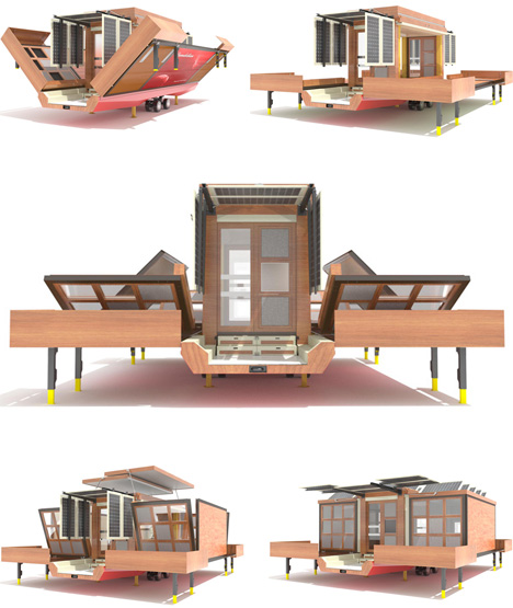 Unboxed surprisingly spacious flat pack house on wheels for Flat pack garden decking