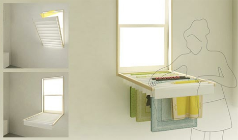 Blindry Window Blinds Flip Down Into Laundry Drying Rack