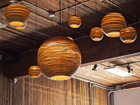 Slights Recycled Corrugated Cardboard Ceiling Lamps
