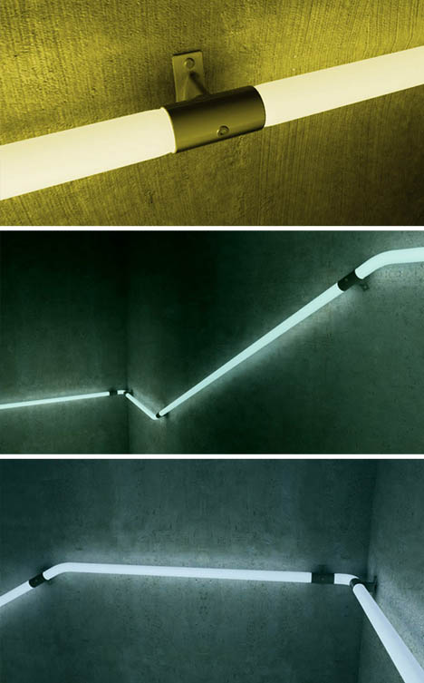Lighting Basement Washroom Stairs: Light Rail: LED Hand Railings To Safely Light Up