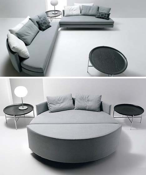 Sliced U0026 Spliced: Pair Of Sofas Slide To Form Circular Bed