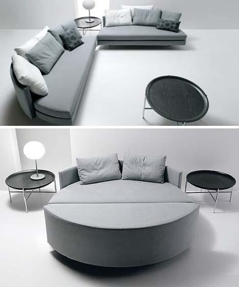 Circular Bed Separates Into Sofas