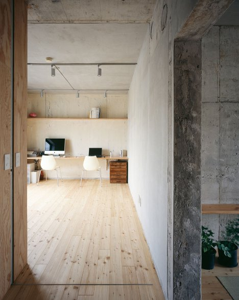 Heavy And Light: Minimal Concrete + Plywood Home Interior