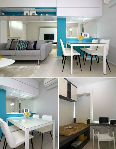 Singapore shoebox flat gets stunning modern renovation for One bedroom apartment renovation ideas