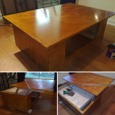 Liftoff Diy Coffee Table With Extending Laptop Holding Top