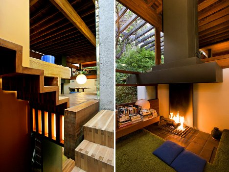 wooded wonderland open plan multi level glass cliff home. Black Bedroom Furniture Sets. Home Design Ideas