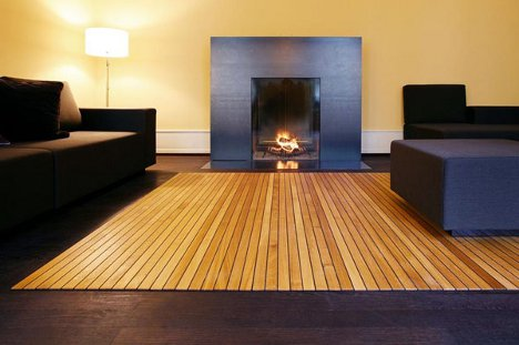 Roll Up Wooden Carpet Redefines Movable Floor Coverings