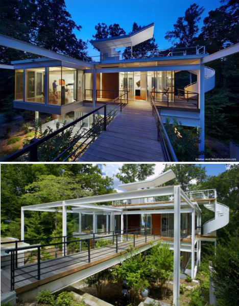 Midcentury Modern Home Features Spiraling Exterior Stairs