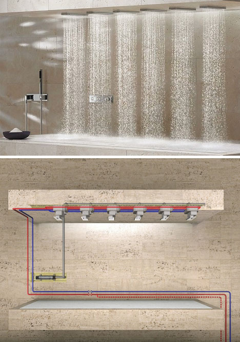 Sleek Horizontal Shower Bathing In The Best Of Both Worlds