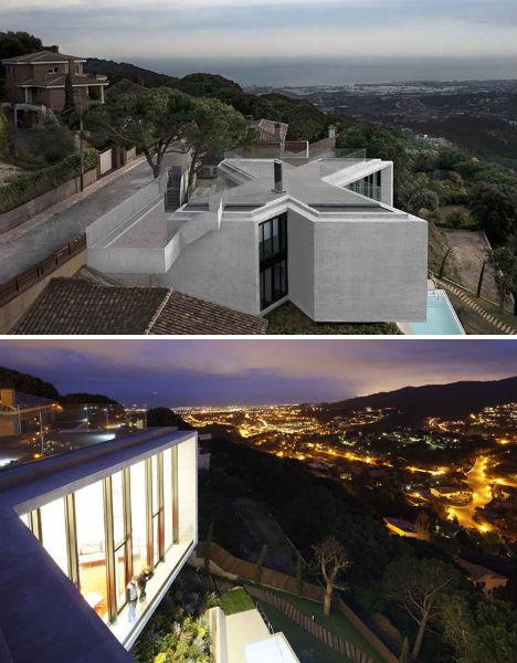 X Shaped House Hangs Over Hillside In Barcelona