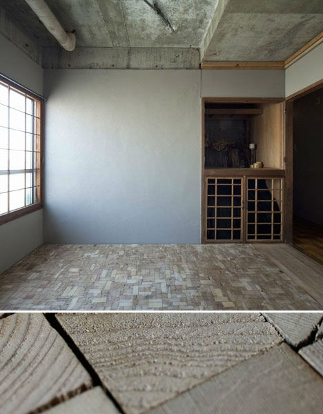 Reclaimed patchwork wood block floor has character for Wood floor alternatives