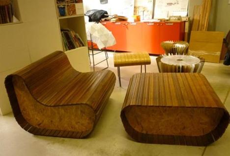 wooden shade slats reborn as attention grabbing furniture