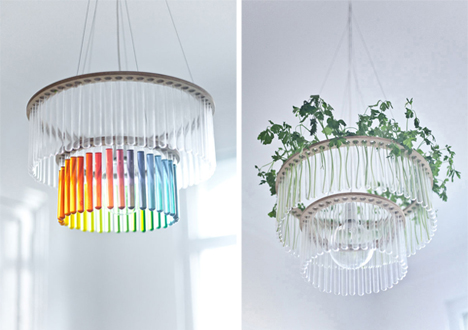 Test-Tube Chandeliers for Hanging Lights, Colors & Plants