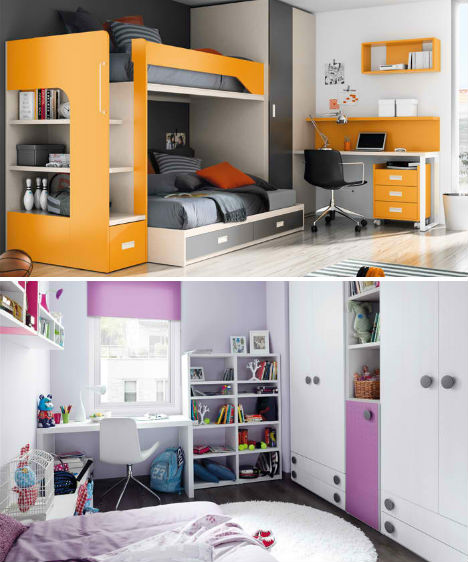 Colorful Kids Room Design: Compact & Colorful Kids Room Design Ideas By KIBUC