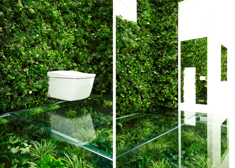Nature Calls: Gorgeous Green Bathroom Lush with Plant...