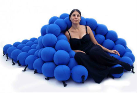 Transforming Feel Seating System Made of Squishy Spheres