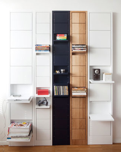 Up, Then Down: Shelves Fold Neatly Away Until Needed