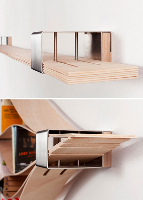 Flexible Wooden Bookshelf Warps to Wrap All Book Sizes