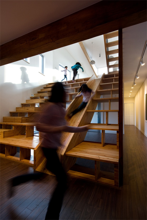 Magnificent Staircase is Also a Slide, Bookcase + Cinema