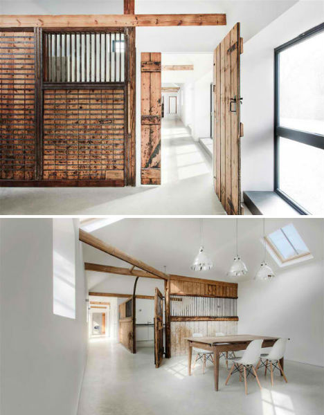 Wood Contrasts with White in Converted Stable House