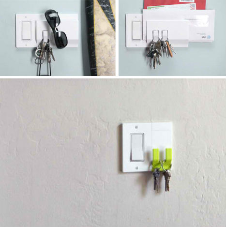 Walhub: Triple-Duty Switch Plate Holds Mail, Keys and More