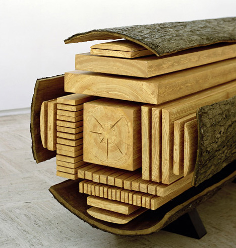 Frozen Mid-Cut: Log Sculpture Shows How Trees Get Sliced