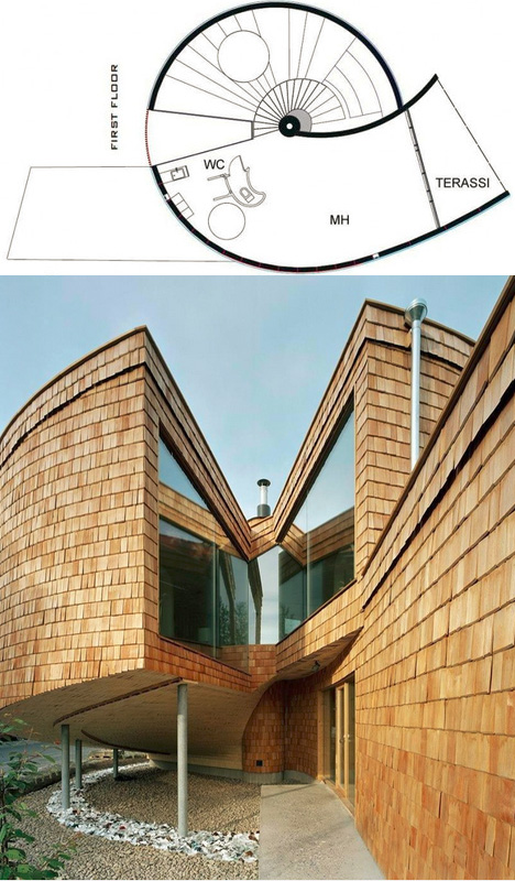 Catlike House: Spiral Shell Home Rests Its Head on Its Tail
