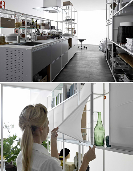 Meccanica: Flexible Open Framework Kitchen Shelves
