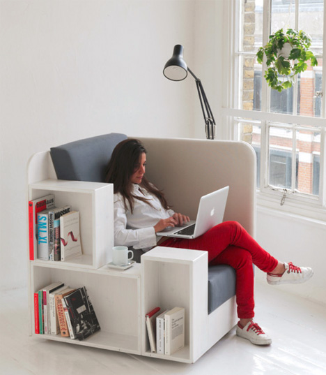 Reading Chair: Seat with Built-In Book & Magazine Shelves