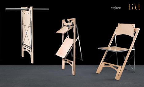 Folding Wood Furniture Elegantly Slim Table Chair Pair