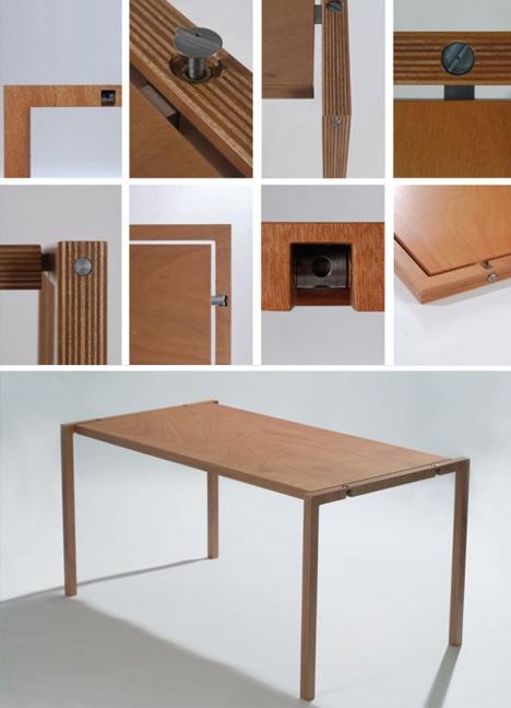 Simple Wood Furniture folding wood furniture: elegantly slim table & chair pair