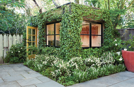 Lush IvyCovered Building is a Living Backyard Home Office