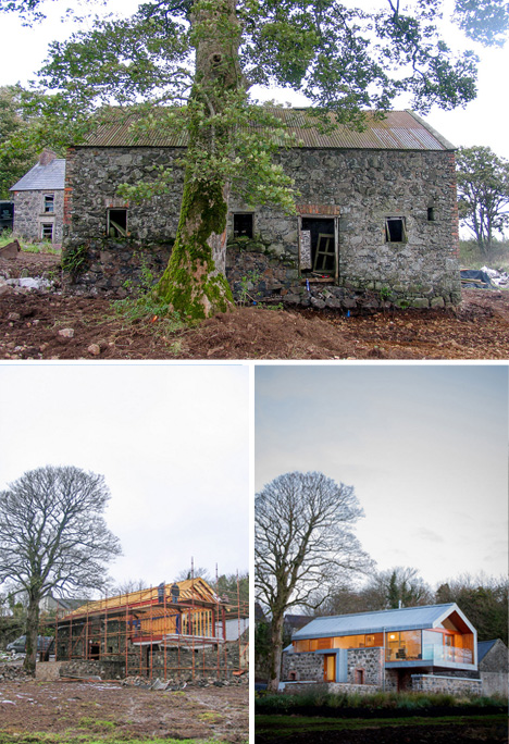 Cobbled with Copper: Stone Barn Wall Built into New Home