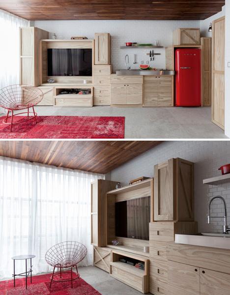 Wood Box Storage Wall Keeps Micro Apartment Organized