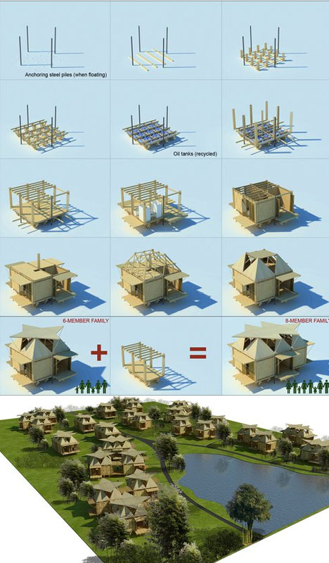 bamboo houseboat construction process