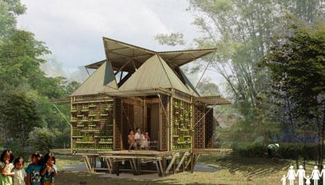 bamboo houseboat