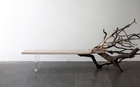 Fallen Tree Bench: Organic Chaos Meets Linear Minimalism
