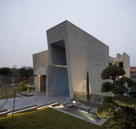 sculptural open box house
