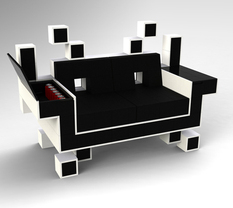 Geek Chic Space Invader Couch And Donkey Kong Shelves