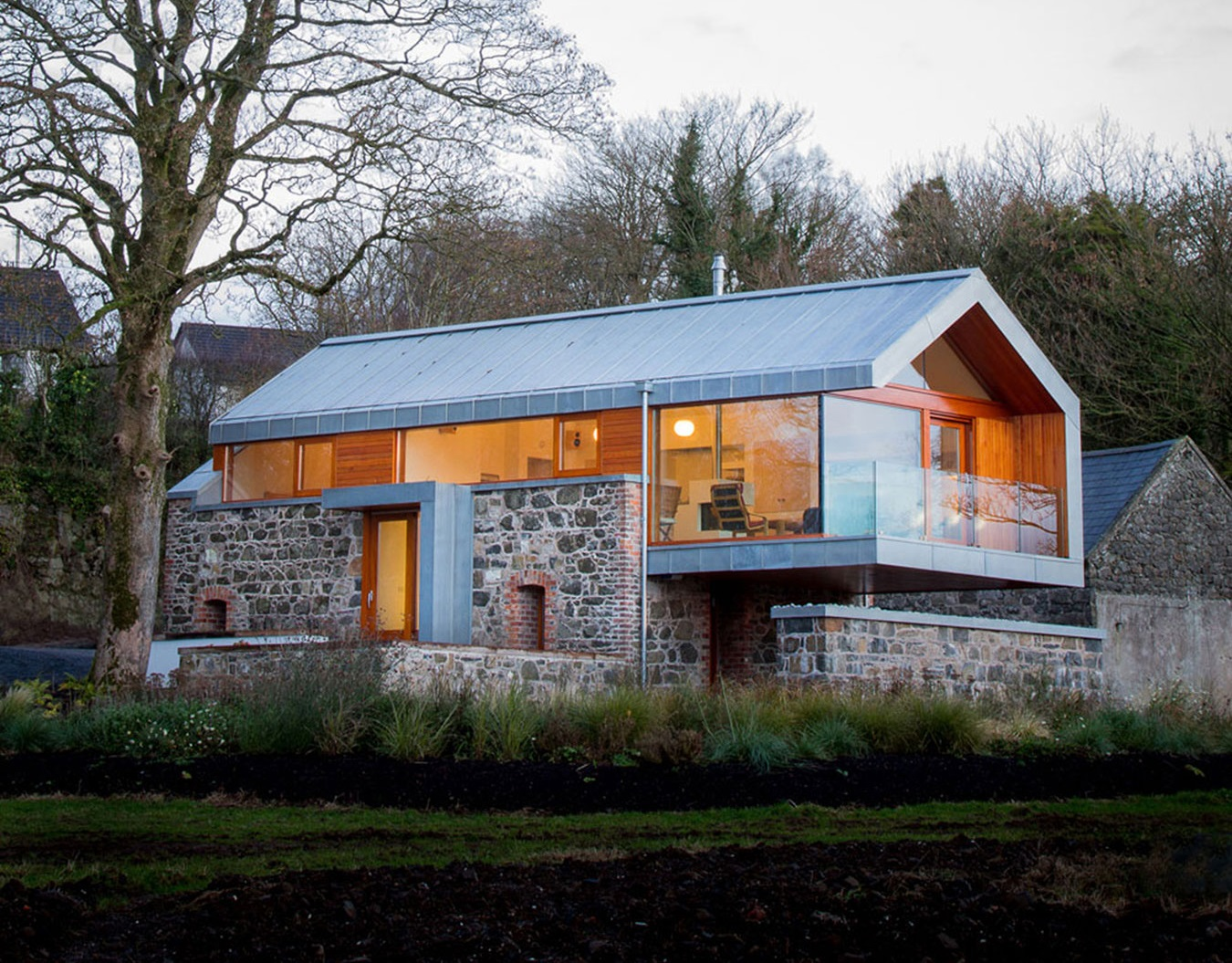 Stone Barn Wall Built into New Home