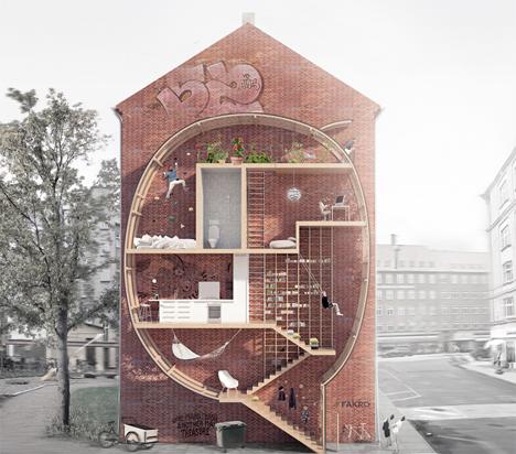 Ultra narrow apartments fill gaps between buildings for Narrow studio apartment