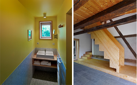 bathroom and stairs alsace farmhouse
