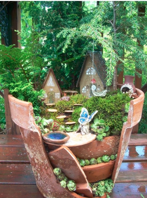 Beyond Fairy Gardens: DIY Cracked Flower Pot Landscapes