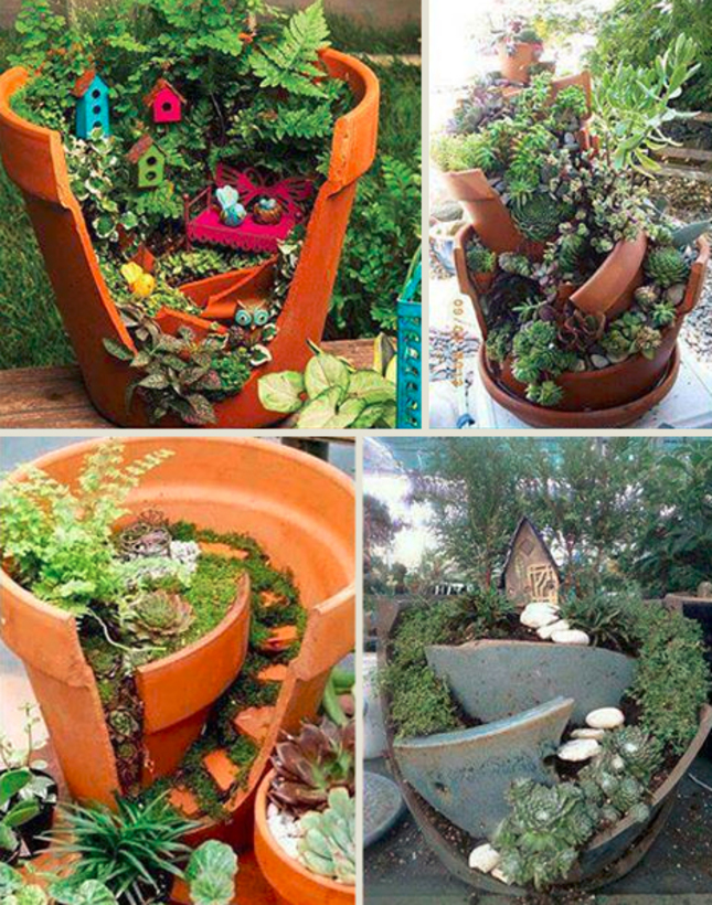 Cracked Flower Pot Fairy Gardens | Designs & Ideas on Dornob