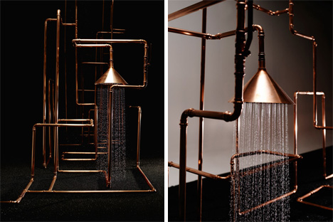 front copper shower installation