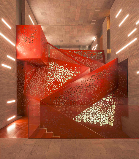 Geometric Staircase Perforated With 12 000 Shots Of Water