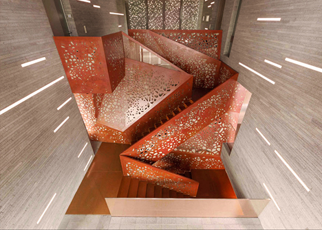 perforated stairs top view
