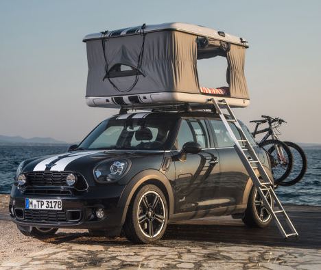 Rev The Roof Tiny Rooftop Tent Rides On Mini Cooper Cars Designs