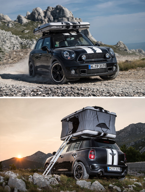 rooftop mini car tent & Rev the Roof: Tiny Rooftop Tent Rides on MINI Cooper Cars
