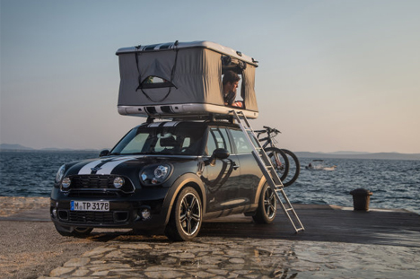 Rev The Roof Tiny Rooftop Tent Rides On Mini Cooper Cars